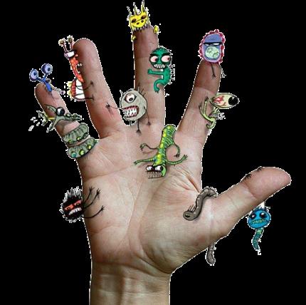 Рисунки паразитов на руке